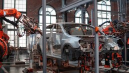 Robots are manufacturing a car